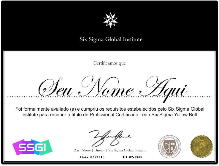Certificação Yellow Belt - Six Sigma Certification (Brasil)