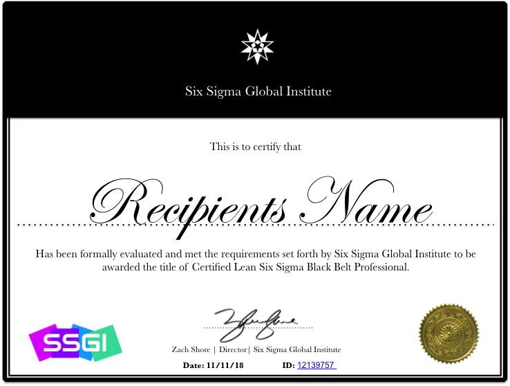 Black Belt Certificate