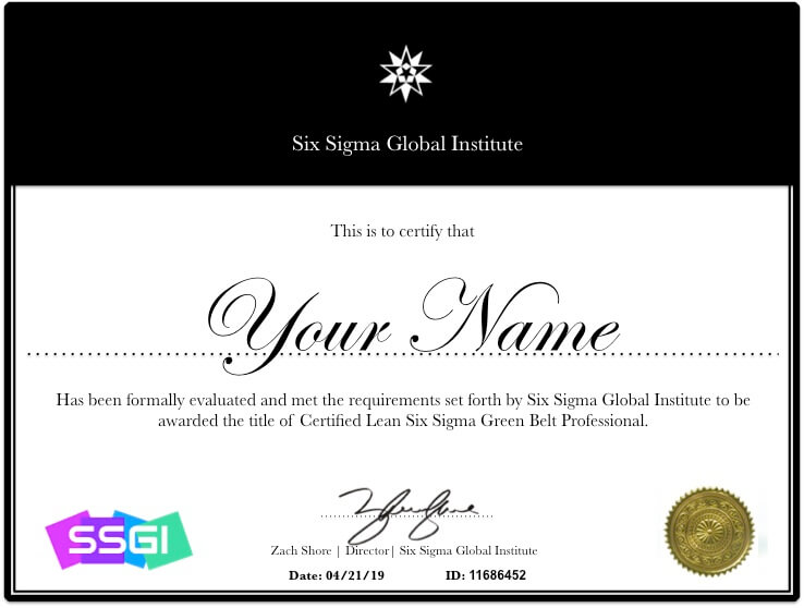 Green Belt Certification SSGI