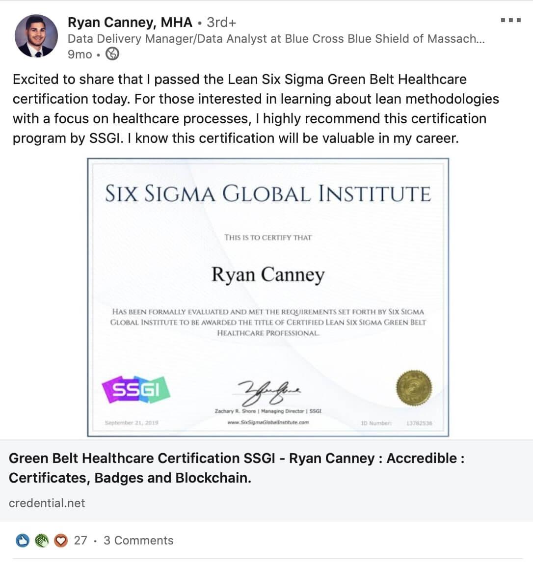 ssgi lean six sigma green belt healthcare review