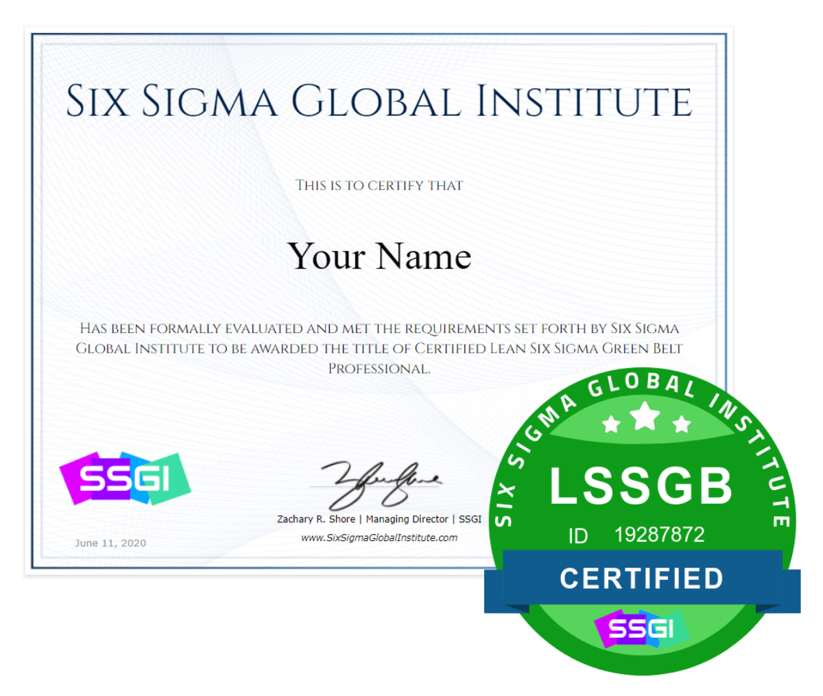 ssgi lean six sigma green belt certificaiton